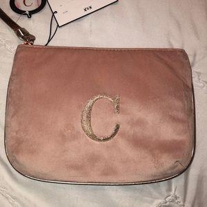 Pink Velvet Initial C Makeup Bag